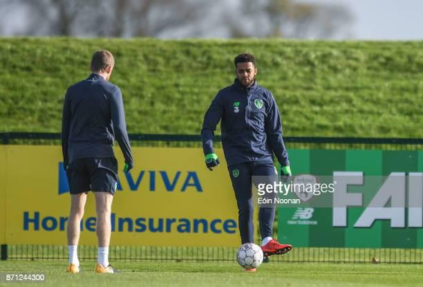 Dublin Ireland 7 November 2017 Cyrus Christie during Republic of Ireland squad training at FAI National Training Centre in Abbotstown Dublin