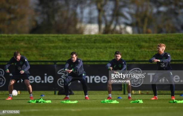 Dublin Ireland 7 November 2017 Players from left Glenn Whelan John O'Shea Robbie Brady and Paul McShane during Republic of Ireland squad training at...