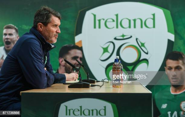Dublin Ireland 7 November 2017 Republic of Ireland assistant manager Roy Keane during a Republic of Ireland press conference at FAI National Training...