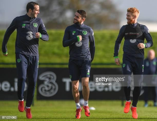 Dublin Ireland 7 November 2017 Robbie Brady shares a joke with John O'Shea left and Paul McShane right during Republic of Ireland squad training at...
