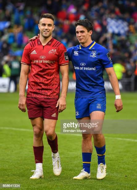 Dublin Ireland 7 October 2017 Conor Murray of Munster left and Joey Carbery of Leinster leave the pitch together after the Guinness PRO14 Round 6...