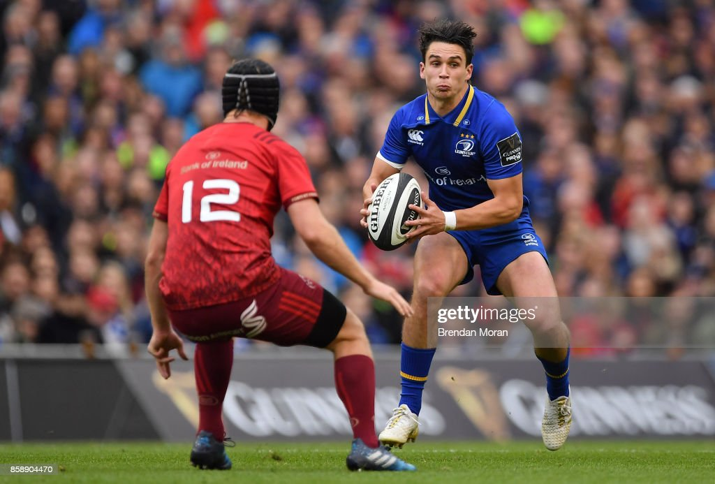 Dublin , Ireland - 7 October 2017; Joey Carbery of Leinster in action against Tyler Bleyendaal of Munster during the Guinness PRO14 Round 6 match between Leinster and Munster at the Aviva Stadium in Dublin.