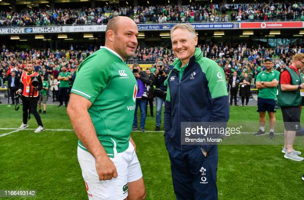 Dublin Ireland 7 September 2019 Ireland captain Rory Best left and head coach Joe Schmidt after the Guinness Summer Series match between Ireland and...