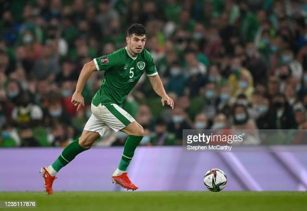 Dublin , Ireland - 7 September 2021; John Egan of Republic of Ireland during the FIFA World Cup 2022 qualifying group A match between Republic of...