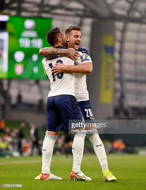 Dublin , Ireland - 7 September 2021; Sergej Milinkovi-Savi of Serbia, right, celebrates with team-mate Duan Tadi after scoring his side's first goal...