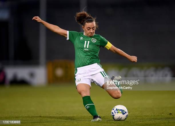 Dublin , Ireland - 8 April 2021; Katie McCabe of Republic of Ireland has a shot on goal during the women's international friendly match between...