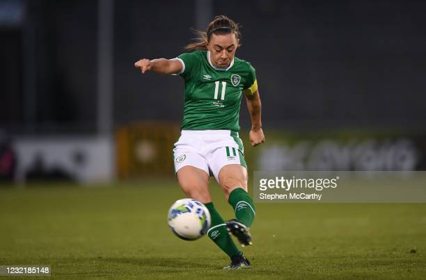 Dublin , Ireland - 8 April 2021; Katie McCabe of Republic of Ireland has a shot on goal, which subsequently hit the crossbar, during the women's...