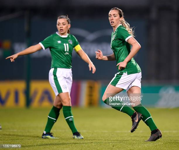Dublin , Ireland - 8 April 2021; Megan Connolly, right, and Katie McCabe of Republic of Ireland during the women's international friendly match...