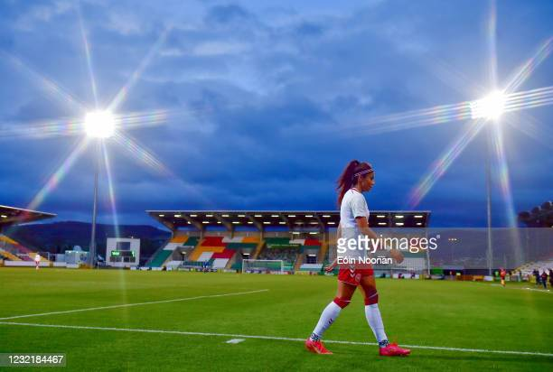 Dublin , Ireland - 8 April 2021; Nadia Nadim of Denmark makes her way back to the bench after being substituted during the women's international...