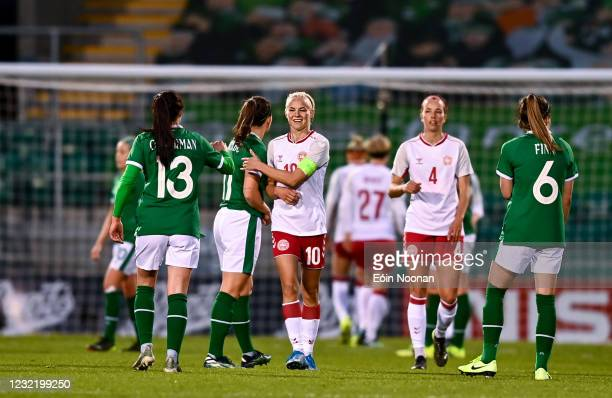 Dublin , Ireland - 8 April 2021; Pernille Harder of Denmark with Katie McCabe of Republic of Ireland after the women's international friendly match...