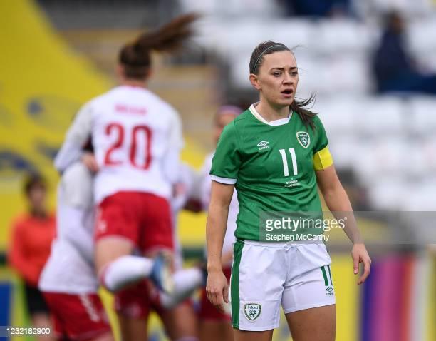 Dublin , Ireland - 8 April 2021; Republic of Ireland captain Katie McCabe after Denmark scored their first goal during the women's international...