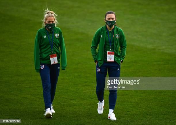 Dublin , Ireland - 8 April 2021; Republic of Ireland players Denise O'Sullivan, left, and Katie McCabe during the women's international friendly...