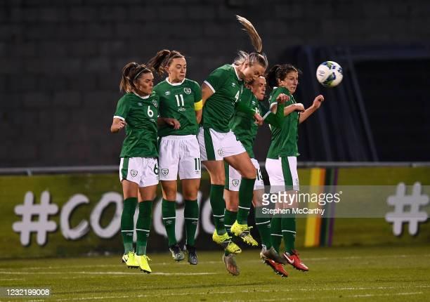 Dublin , Ireland - 8 April 2021; Republic of Ireland players, from left, Jamie Finn, Katie McCabe, Louise Quinn, Áine O'Gorman and Niamh Fahey defend...
