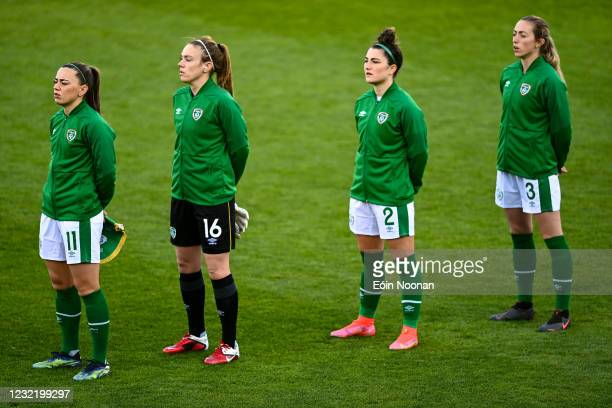 Dublin , Ireland - 8 April 2021; Republic of Ireland players, from left, Katie McCabe, Grace Moloney, Keeva Keenan and Megan Connolly before the...