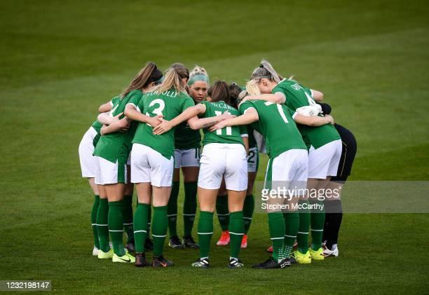 Dublin , Ireland - 8 April 2021; Republic of Ireland players huddle before the women's international friendly match between Republic of Ireland and...