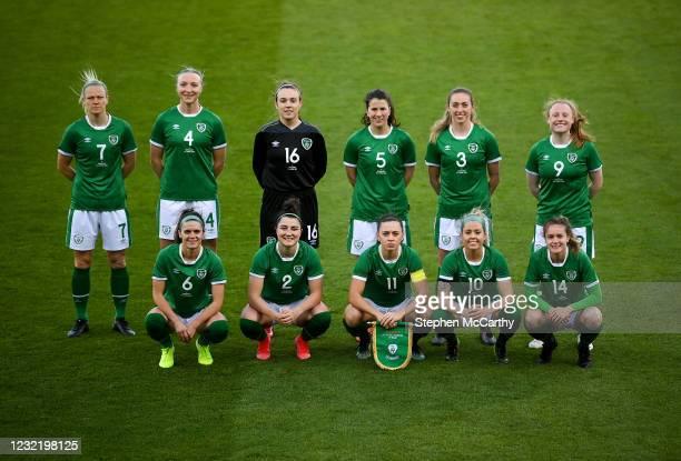 Dublin , Ireland - 8 April 2021; The Republic of Ireland team, back row, from left, Diane Caldwell, Louise Quinn, Grace Moloney, Niamh Fahey, Megan...