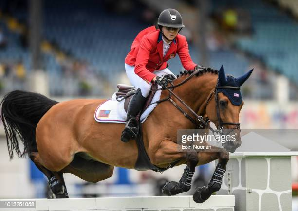 Dublin Ireland 8 August 2018 Adrienne Sternlicht of USA competing on Fantast during the Minerva Stakes during the StenaLine Dublin Horse Show at the...