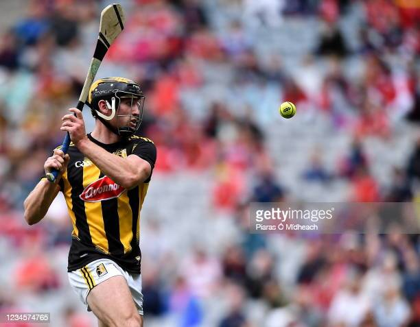 Dublin , Ireland - 8 August 2021; James Bergin of Kilkenny shoots wide, in the first half of exta-time, during the GAA Hurling All-Ireland Senior...