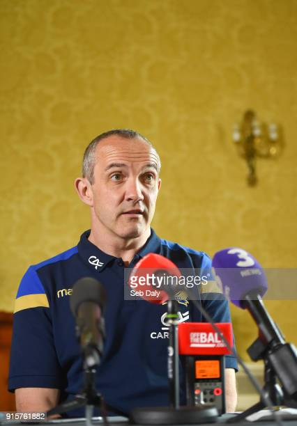 Dublin Ireland 8 February 2018 Head coach Conor O'Shea during an Italy Rugby press conference at the Radisson St Helen's Hotel in Dublin