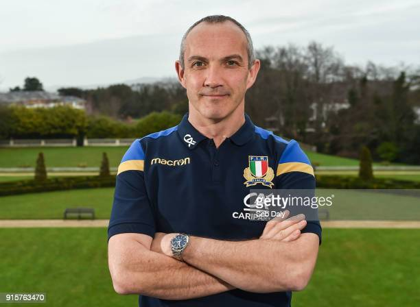 Dublin Ireland 8 February 2018 Head coach Conor O'Shea poses for a portrait prior to an Italy Rugby press conference at the Radisson St Helen's Hotel...