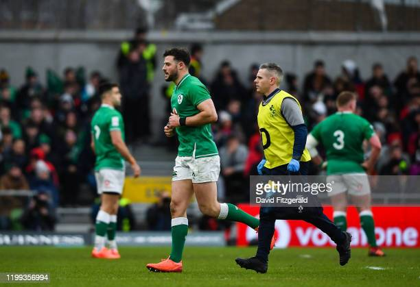 Dublin , Ireland - 8 February 2020; Robbie Henshaw of Ireland leaves the pitch for a head injury assessment during the Guinness Six Nations Rugby...