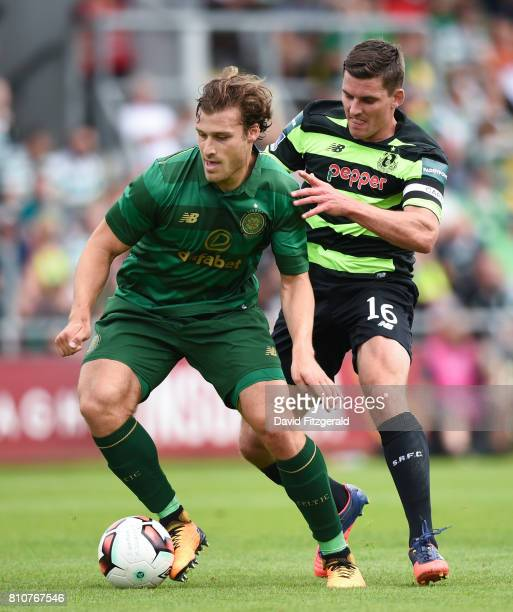 Dublin Ireland 8 July 2017 Erik Sviatchenko of Celtic in action against David McAlister of Shamrock Rovers during the friendly match between Shamrock...