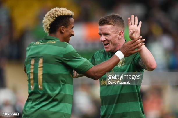 Dublin Ireland 8 July 2017 Jonny Hayes right of Celtic celebrates with Scott Sinclair after he scores his side's 9th goal during the friendly match...