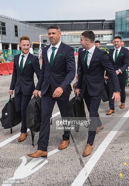 Dublin Ireland 8 June 2016 Republic of Ireland players from left Stephen Quinn Jonathan Walters and Robbie Brady during the squad's departure for...