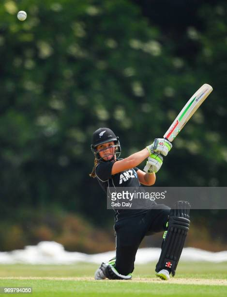 Dublin Ireland 8 June 2018 Amelia Kerr of New Zealand plays a shot to score a boundary off of a delivery from Amy Kenealy of Ireland during the...