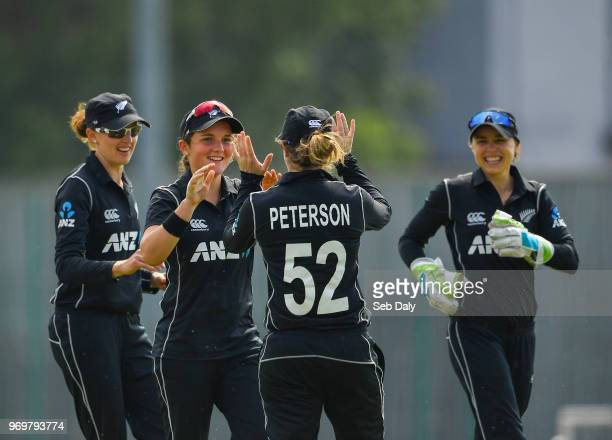 Dublin Ireland 8 June 2018 Amelia Kerr of New Zealand second left is congratulated by teammates after catching Mary Waldron of Ireland in the slips...