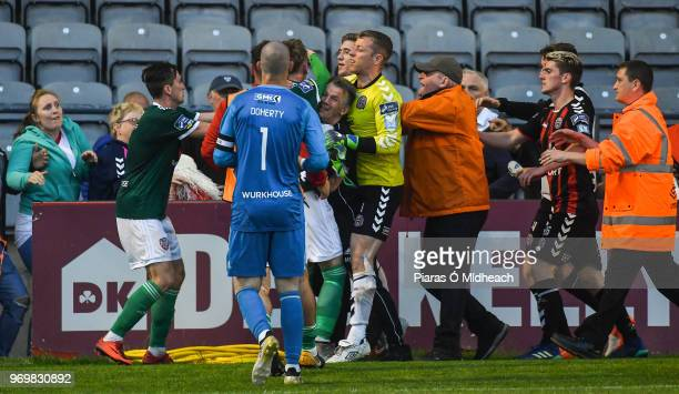 Dublin Ireland 8 June 2018 An incident after the game pictured are Bohemians players Shane Supple and Dylan Watts right and Derry City players from...