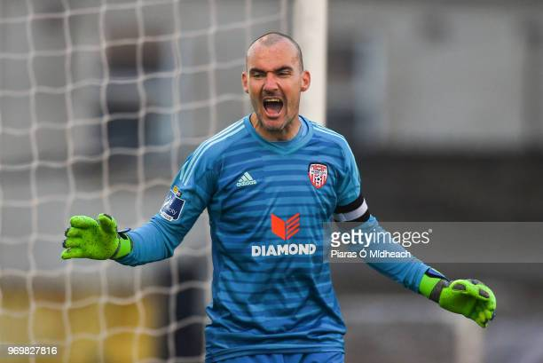 Dublin Ireland 8 June 2018 Derry City goalkeeper Gerard Doherty celebrates a Bohemians miss during the SSE Airtricity League Premier Division match...