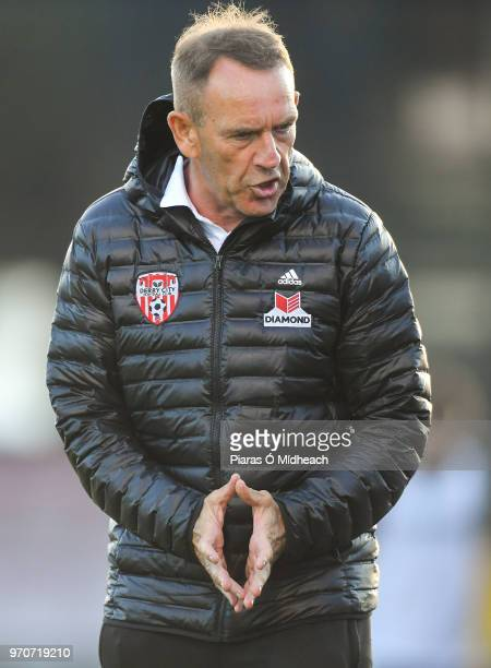 Dublin Ireland 8 June 2018 Derry City manager Kenny Shiels during the SSE Airtricity League Premier Division match between Bohemians and Derry City...