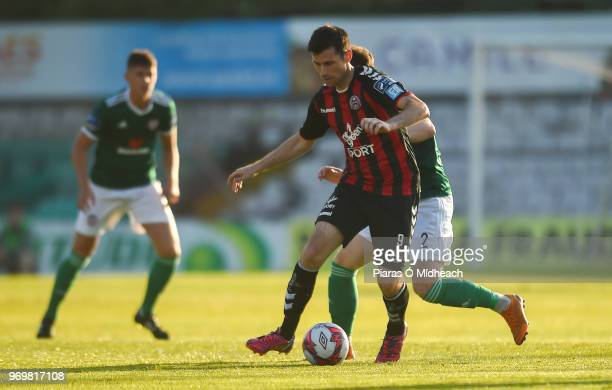 Dublin Ireland 8 June 2018 Dinny Corcoran of Bohemians in action against Conor McDermott of Derry City during the SSE Airtricity League Premier...