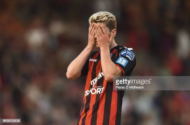 Dublin Ireland 8 June 2018 Dylan Watts of Bohemians reacts after a missed chance during the SSE Airtricity League Premier Division match between...
