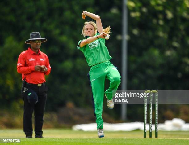 Dublin Ireland 8 June 2018 Gaby Lewis of Ireland during the Women's One Day International match between Ireland and New Zealand at the YMCA Cricket...