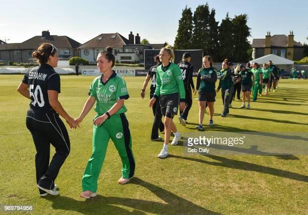 Dublin Ireland 8 June 2018 Ireland captain Laura Delany shakes hands with Kate Ebrahim of New Zealand following the Women's One Day International...