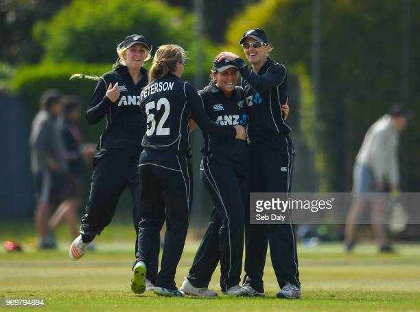 Dublin Ireland 8 June 2018 Kate Ebrahim of New Zealand second right is congratulated by teammates after catching out Gaby Lewis of Ireland during the...