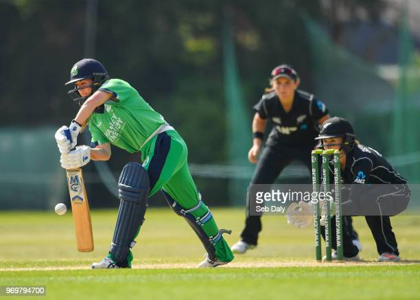 Dublin Ireland 8 June 2018 Laura Delany of Ireland plays a shot off of a delivery from Kate Ebrahim of New Zealand during the Women's One Day...