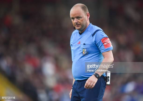 Dublin Ireland 8 June 2018 Referee Graham Kelly during the SSE Airtricity League Premier Division match between Bohemians and Derry City at Dalymount...