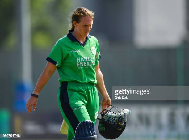 Dublin Ireland 8 June 2018 Shauna Kavanagh of Ireland leaves the field after being trapped LBW by Kate Ebrahim of New Zealand during the Women's One...