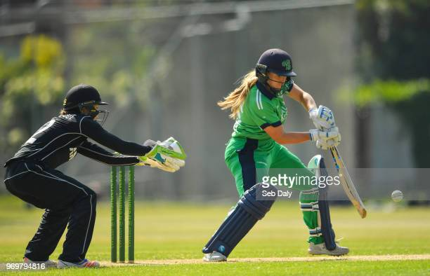Dublin Ireland 8 June 2018 Shauna Kavanagh of Ireland plays a shot to score a boundary off of a delivery from Anna Peterson of New Zealand during the...