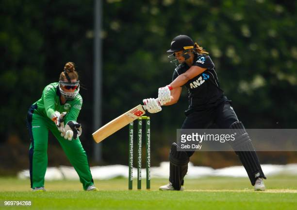 Dublin Ireland 8 June 2018 Suzie Bates of New Zealand plays a shot off of a delivery from Cara Murray of Ireland during the Women's One Day...