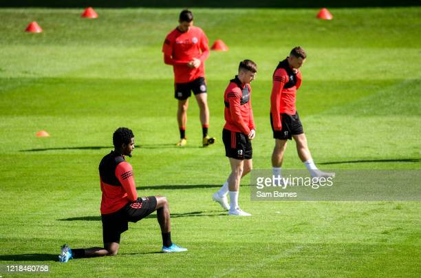Dublin , Ireland - 8 June 2020; Andre Wright, left, and team-mates during a Bohemian FC training session at Dalymount Park in Dublin. Following...