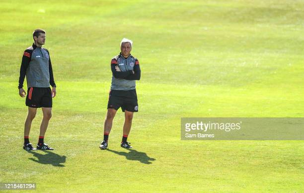 Dublin , Ireland - 8 June 2020; Bohemians manager Keith Long, right, and coach Trevor Crolly during a Bohemian FC training session at Dalymount Park...