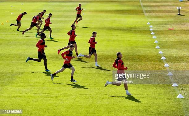 Dublin , Ireland - 8 June 2020; Bohemians players warm up during a Bohemian FC training session at Dalymount Park in Dublin. Following approval from...
