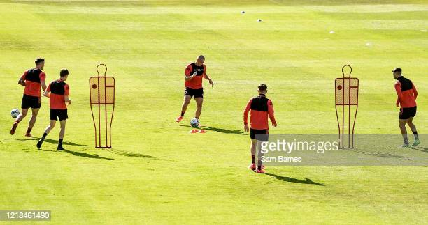 Dublin , Ireland - 8 June 2020; Dan Casey, centre, during a Bohemian FC training session at Dalymount Park in Dublin. Following approval from the...
