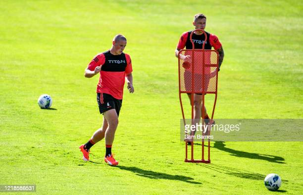 Dublin , Ireland - 8 June 2020; Dan Casey, left, during a Bohemian FC training session at Dalymount Park in Dublin. Following approval from the...