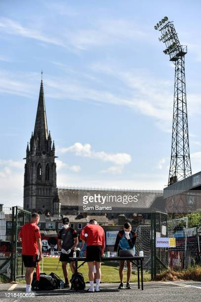 Dublin , Ireland - 8 June 2020; Players arrive and sign in ahead of the Bohemian FC training session at Dalymount Park in Dublin. Following approval...