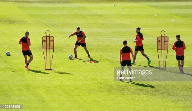 Dublin , Ireland - 8 June 2020; Rob Cornwall, second from left, during a Bohemian FC training session at Dalymount Park in Dublin. Following approval...